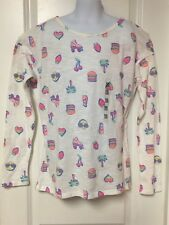 The Childrens Place Girls White Long Sleeve Burger Roller Skate Top Size 16 NWT!