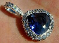 6ct Pear Blue Sapphire Diamond Cluster Halo Pendant Necklace 14K White Gold Over
