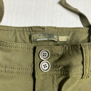 Prana Halle Convertible Hiking Pant Olive Green Womens Sz 8 Roll Up Leg Stretch
