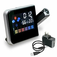 LED Digital Projection Alarm Clock Weather Thermometer Snooze Backlight