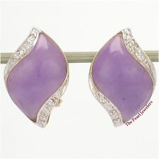 14k Yellow Solid Gold Omega Clip, Diamond & Cabochon Lavender Jade Earrings TPJ