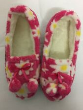 Ladies BNIB Synthetic Fur Pink Flower Slippers UK Size 6