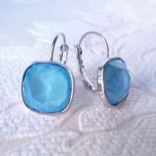 Summer Sky Blue Leverback Drop Earrings made with Cushion Cut Swarovski Crystal