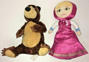 """Lot 2 Masha and the Bear 11"""" Masha Transform Flip Doll 8.5"""" Bear Plush PAIR USED"""