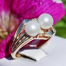 14k yellow gold ring 6mm pearl natural diamond size 6.5 vintage handmade 5.9gr