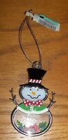 GANZ STAIN GLASS MERRY CHRISTMAS SNOWMAN ORNAMENT