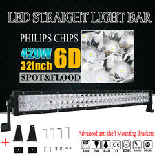 32inch 420W PHILIPS LED WORK LIGHT BAR FLOOD SPOT COMBO OFFROAD TRUCK LAMP 33''