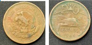 1944 Mexico 20 Centavos Coin XF    World Coin Bronze       #K063