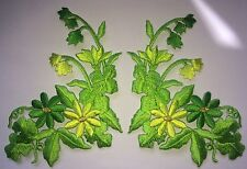 FLOWER PATCH X 2, GREEN IVY & LILY OF THE VALLEY; SEW-ON/IRON-ON *Embroidered*