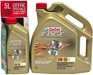 Huile Moteur 5w30 Lubrifiants Additif Motorisation 4 Temps Edge Synthétique + 1L
