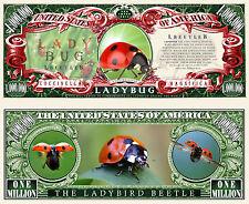 Ladybug Million Dollar Bill Collectible Fake Play Funny Money Novelty Note