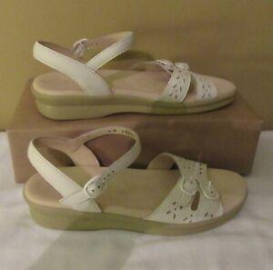SAS Women's Size 7 Tripad Comfort Duo White Leather Strap Slingback Sandals