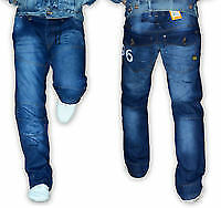 G Star Raw 96 Blue  Heritage Embro Tapered Button-Fly Jeans
