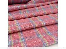 NEW Italian Multi Colour Cotton Wool Check Boucle Fabric Designer Catwalk Cloth