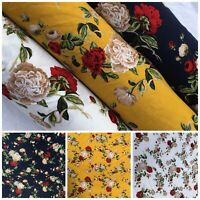 Floral Printed 100% Viscose Dress Fabric Sold by Meter 150 cm wide