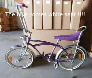 "20"" Lowrider Beach Cruiser Complete W/ 68 spoke Bike Bicycle Purple / white seat"