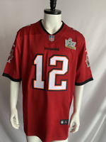 Tampa Bay Buccaneers #12 Tom Brady Red SB55 Patch Football Jersey Men's Size XL