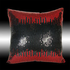 ABSTRACT SHINY RED BLACK SEQUINS DECO THROW PILLOW CASE CUSHION COVER 16""