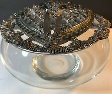 Metzke pewter heart Victorian Potpourri lid clear glass dish 1989 Made in Usa