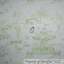 BonEful Fabric FQ Cotton Quilt VTG Green Baby Horse Carousel Central Park Toile