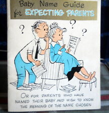 Vintage Expectant Baby'S Names With Meaning Barker's Greeting Card circa 1950