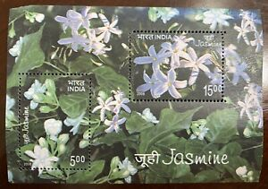 2008 INDIA SCENTED MINIATURE SHEET -  JASMINE FLOWERS MNH