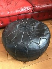 Stunning Large Handmade Moroccan Black Leather Ottoman Pouffe