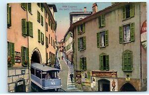 Lugano Via Della Cattedrale Switzerland Trolley Streetcar Vintage Postcard A76