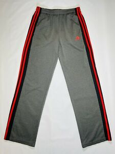 Adidas Track Pants Classic Straight Gray Red 3 Stripes Drawstring Polyester Y XL