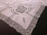Vtg Antique Italian Reticella Lace~Filet Lace~Cutwork White Linen Tablecloth