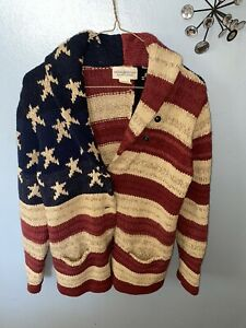 Iconic Ralph Lauren Denim & Supply Cotton Linen American Flag Cardigan Sz L