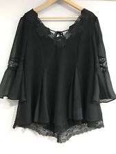 FREE PEOPLE Sz M Bell Sleeve Lace Detail Tunic Top In Black, Boho Style