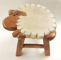 Sheep Design Hand Carved Acacia Hardwood Decorative Short Stool