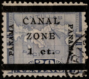 Canal Zone - 1906 - 1 Cent on 20 Cents Violet Overprinted Map Issue # 16b F-VF