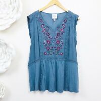 KNOX ROSE Boho Casual Embroidered Top Size XXL Blue Spring Flowy Blouse