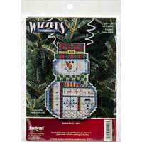 """Holiday Wizzers Snowman Let It Snow Counted Cross Stitch Kit 3""""X2 049489211903"""