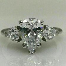 Ring 3.00 Ct 14K White Gold Pear Shape Moissanite with Pear Accents Engagement