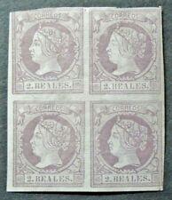 1865 2 REALES BLOCK OF 4 VF MLH SPAIN ESPAGNE B36.48 0.99$