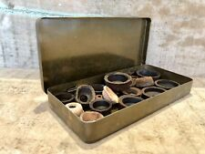 20 Assorted Leather Cup Washers Seals Tilley Vapalux Primus In Hinged Tin Retro
