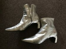Zara silver space pointy ankle Boots UK5 EU38 faux leather