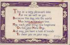 MAY EACH YEAR BRING NEW HAPPINESS ON THIS YOUR NATAL DAY 1910 M. G. Hays quote