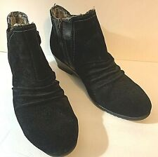 Sporto Womens Bootie 9.5W Black Drape2 Water-Resistant Ruched Suede