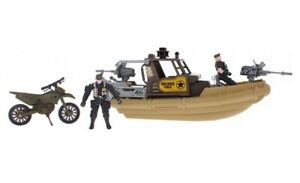 Kids Large Combat Force Speed Boat Motorbike playset Army Soldier Helicopter Act