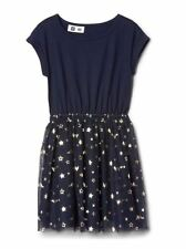 Gap Kids Girl Dress 14 16 Navy Blue Tulle Star Knit Cap Sleeve Elastic Waist New