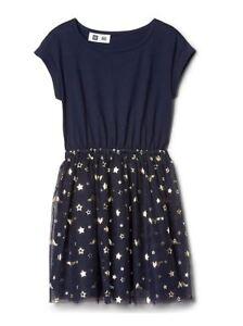 New Gap Kids Girl Navy Blue Tulle Star Knit Cap Sleeve Elastic Waist Dress 14 16