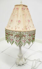 ANTIQUES PLUS Shabby Chic Lamp w/ Handmade Silk Floral Shade w/ Hanging Beads