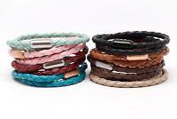 Vegan Leather Double Wrap Cuff Bracelet Stainless Steel Men Women Unisex Cotton
