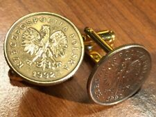 Polish White Eagle Poland Coat of Arms Brass Coin Cufflinks FREE S&H + Gift Box!