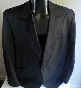 BROOKS BROTHERS Black Peak Satin Lapel Tuxedo Jacket SZ 45ML    100% Wool USA