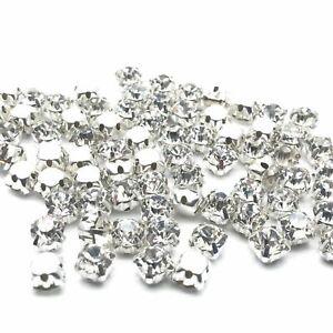 500pcs x SS12 3.5mm AAA Glass Sew on Clear Diamante Rhinestone Crystal Studs